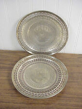 """Pair Old Tiffany & Co Sterling Silver Pierced Rim Footed Cake Stands 17266 8.75"""""""
