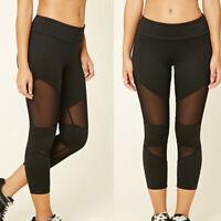 Womens YOGA Workout Capri Running Gym Sports Pants Leggings Fitness Mesh
