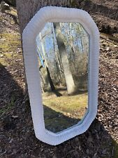 """Vintage Huge Wicker Mirror Lexington Henry  Link White Painted  USA Made 27x46"""""""