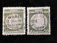 Deutschland DDR ,Dienstmarken 1954 - MiNr. 8  Sonderstempel 20 (Pf)