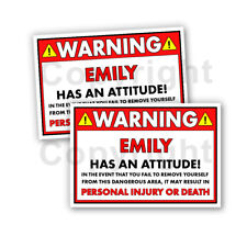 """EMILY HAS AN ATTITUDE 2 Funny Warning Stickers 5"""" wide orange Set of 2"""