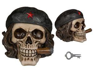 Polyresin Che Guevara Zigarre Rauchen Skull Sparschwein Spardose Münze Gothic