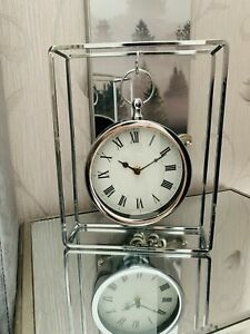 Modern Hanging Mantle Table Clock Beside Table Hanging Chrome Round Clock Decore