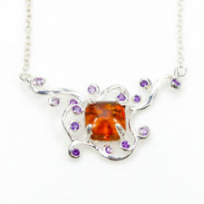 Handmade Natural Amber 925 Sterling Silver Necklace Length 19/N02563
