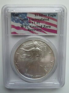 $1 Silver American Eagle, 2000 Gem Uncirculated 9-11-01 WTC Ground Zero Recovery