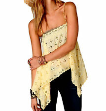 [1510]NEW Free People New Romantics Wildflower Eyelet Cami Yellow Medium $88