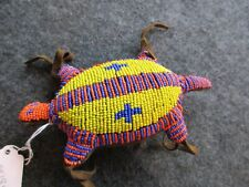 HAND MADE NATIVE AMERICAN BEADED LEATHER FETISH, TURTLE AMULET,    #WHA-04284