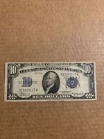 1934 A $10 Ten Dollar Bill. Blue Seal Silver Certificate