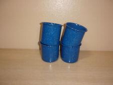 BLUE ENAMELWARE CAMPING COOKWARE SET OF 4 MUGS