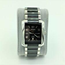 Vetania Swiss Quartz All Stainless Steel & Black Ceramic Dial Mens Wrist Watch