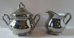 Vintage Sugar & Creamer SHINING Silver Coated Ceramic Bavaria IN GREAT CONDITION