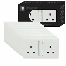 Trendi 2 Gang  13 Amp Switched Plug Socket White Trade Pack (x10)