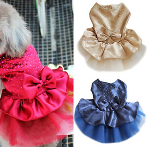 Pet Dog  Bow Dress Lace Skirt Puppy Princess Costume Apparel Clothes Reliable