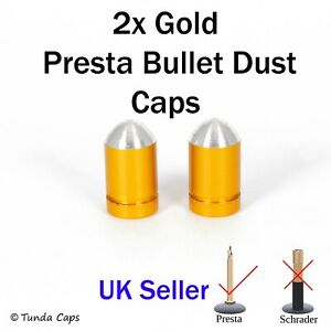 2x Gold Presta Alloy Valve Stem Dust Caps Racing Bicycle cycle Cover Kids Bike