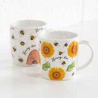 Set of 2 Honey Bee Barrel Mugs White Fine China 350ml 12oz Tea Coffee Cups Gift