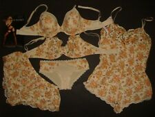 Victoria's Secret 34DD BRA SET+shorts+ROMPER ivory BEIGE orange floral LACE BODY