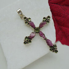 Turmalin Peridot rot rosa grün Kreuz Design Anhänger Amulett 925 Sterling Silber