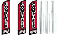 Computer Repair Windless Flag With  Hybrid Pole set 3 pack