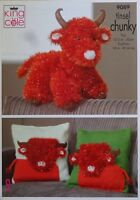 KNITTING PATTERN Highland Cow Soft Toy & Cushion Chunky Tinsel King Cole 9089