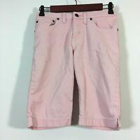 LL Bean Shorts Girls Size 12 Pink Adjustable Waist Double L Denim