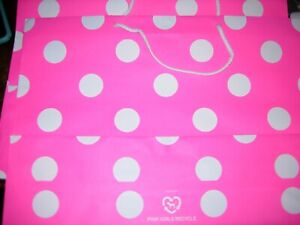 (10) VICTORIAS SECRET PINK Polka Dot LARGE PAPER SHOPPING GIFT BAGS GENTLY USED