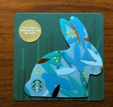 STARBUCKS Gift Card 2018 Die Cut Bunny Rabbit Blue Happy Easter Egg No $ Value