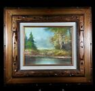 Original Vintage Wooded Landscape Signed Marin Framed Board Canvas Oil Painting