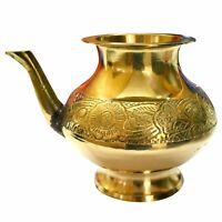 Brass Gold Tone Karwa Chauth Lota Pooja Kalash Water Pot Temple Prayer Badna
