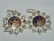 RARE Vintage Woman's US Military Auxiliary Rhinestone Earrings WWI Word War One