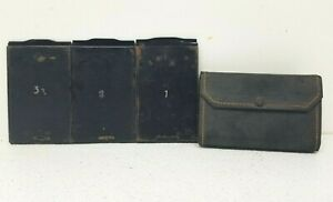"""Lot of 3 ICA Cut film Holders 2.5"""" x 3.5"""" AKT GES Dresden 726/3 w/ Carry Wallet"""