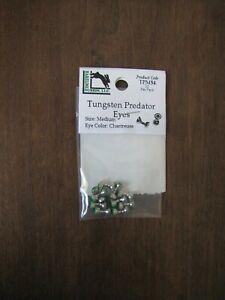 Fly Tying-Hareline Tungsten Predator Eyes - Medium - Nickel/Chartreuse