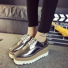 Womens Creepers Oxfords Lace Up Wedge Heels Platform Patent Leather School Shoes