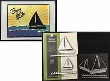 Marina Sailboats metal die set Poppystamps dies 1152 boat,waves,sail,nautical