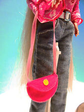 Barbie-size Felt Pink Shoulder Purse Pink Ribbon Strap Yellow Dot Accent