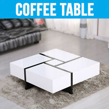 NEW DESIGN HIGH GLOSS WHITE COFFEE TABLE WITH 4 DRAWERS BUILT-IN STORAGE