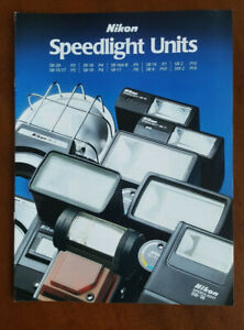 VINTAGE 1986 NIKON SPEEDLIGHT FLASH UNITS FULL PAGE BROCHURE - Great Condition!