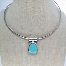 Taxco Silver 925 Blue Pendant TA-17, Vintage Women's Neck Wire Choker Necklace