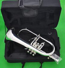 Professionl new Flugelhorn Silver Flugel Horn Monel Valve Ablone key with Case