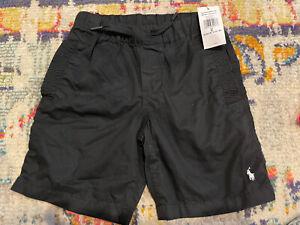 NWT Polo Ralph Lauren Black Cotton Pull On Drawstring Chino Shorts White Logo 6