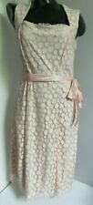 NANCY MAC PETAL PINK POLKA DOT LACE SPOTTY VINTAGE TEA DRESS SIZE 1 UK 8 10 NEW