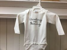 Underbib Baby Drooling Over Mommy Long Sleeve Bib Bodysuit White 9-12 Months