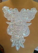 "9"" Fancy Bead & Iridecent Sequin Applique - White"