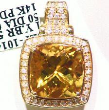 5.73ct 14k ORO NATURAL AMARILLO Emerald Berilio Diamante De Compromiso