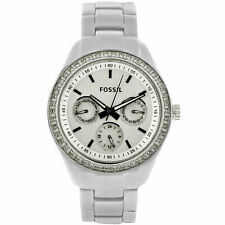 Fossil Aluminum Stella Crystallized Silver Band Watch ES2947