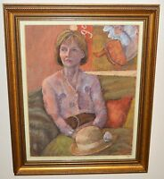"""Janet Clark Lovely Watercolour painting  """"Model with Hat"""" Framed and Glasses"""