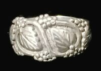 Vintage Grape Leaves Floral Southwest Sterling Silver Pinky Ring Band Size 5.25