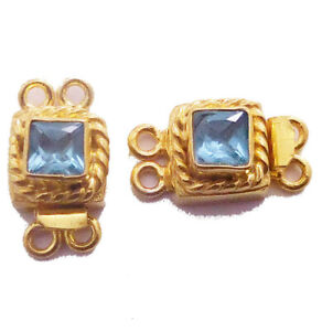 1 PC BLUE TOPAZ BOX CLASP 2 STRAND 18K GOLD PLATED 809 AS-367