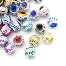 100 Mixte Perles intercalaire Rond Rayure 9mm Dia.B23220