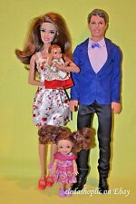 BARBIE DOLL FAMILY DOLLS LOT MOM DAD BABY KELLY BRUNETTE