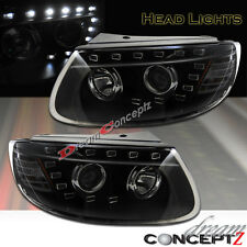 Projector headlights w/ LED for 2007-2009 Hyundai Santa Fe (Black style) Pair